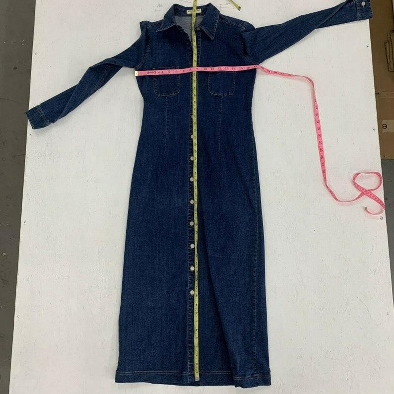 Vintage 80s Eddie Bauer Denim Jean Maxi Dress Womens Size S Prairie Button Front