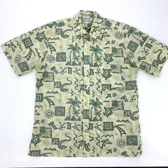 Malihini Hawaii Shirt Hawaiian Medium Vintage Aloha Mens Seashell Cotton Vtg Usa