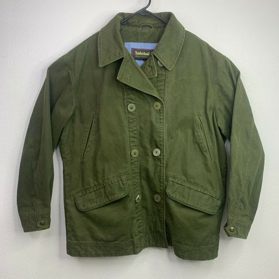 Vintage 90s Timberland Men's Green Long Sleeve But