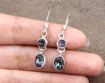 f5e0dfd59 Sale Rainbow Topaz Earrings, Mystic Topaz Earrings, Sterling Silver Earrings,  Drop Dangle Earrings, Women Gift Jewelry, 4th Anniversary Gift