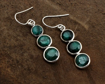 Bridal & Wedding Party Jewelry Energetic Natural Zambian Emerald Earring Studs 925 Sterling Silver Turkish 2 Tone Jewelry