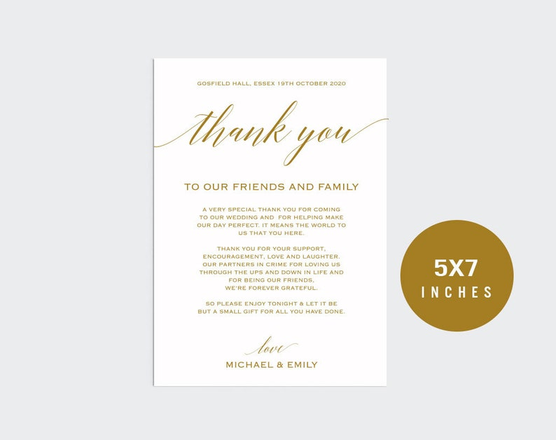 gold wedding thank you sign template thank you card sign