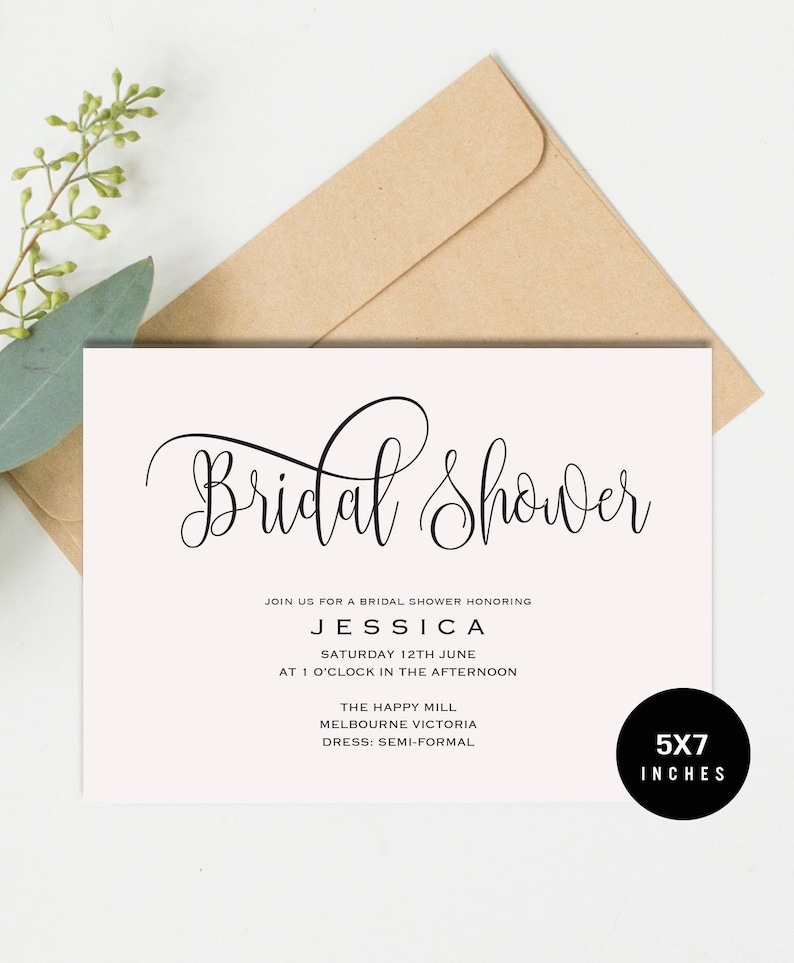 Bridal Shower Invitation Template Print At Home DIY Wedding Invite Instantly Printable Editable INSTANT DOWNLOAD PCC 47