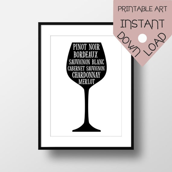 Wine glass wall art, wine grapes, kitchen wall art, kitchen printable,  printable wall art, kitchen decor