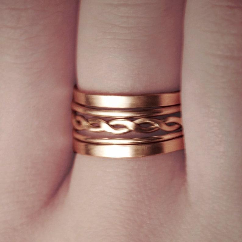 Classic BRAIDED /& PLAIN Rose Gold Stacking Rings \u2022 Set of 5 \u2022 Twisted Rings \u2022 14K Rose Gold Fill \u2022 RGFCO10