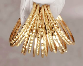 14K SOLID Gold Thin PLAIN & TEXTURED Stacking Rings • Unique Textured Rings • Hammered Rings • Midi Rings • 14K Solid Gold