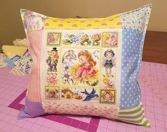 Thumbelina Fairy Tale Cross Stitch Patchwork Pillow - Custom