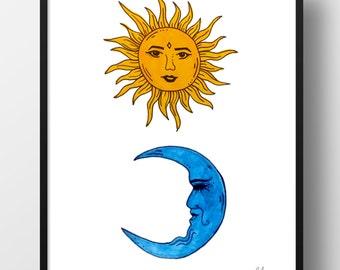 Sun & Moon Digital Print