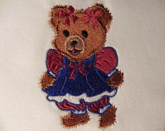 Red, White, and Blue Fuzzy Bear Embroidery Design