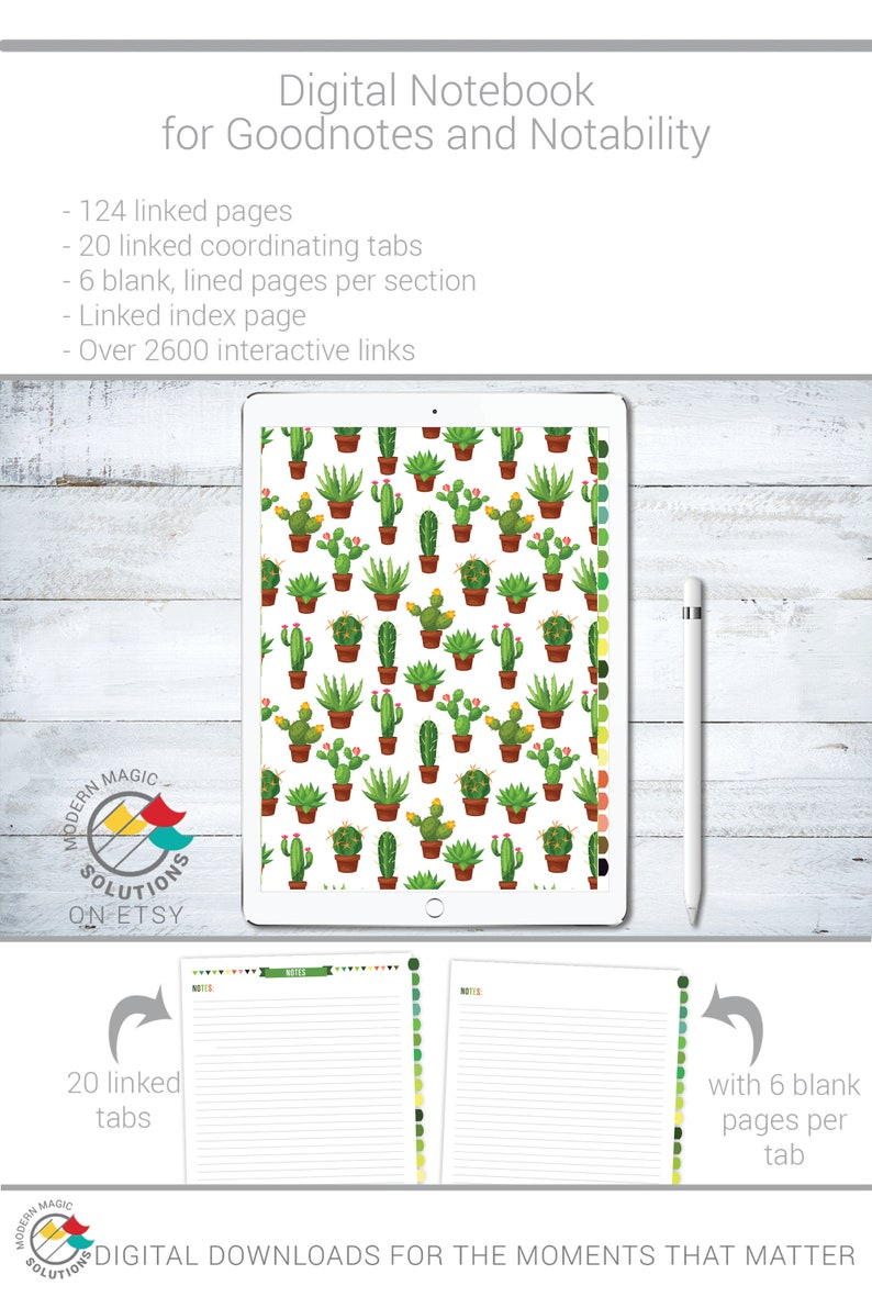 LDS Ministering Interviews Digital Notebook for Goodnotes & Notability with  Cactus Cover