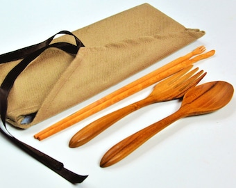 Personal, thick wood utensil set