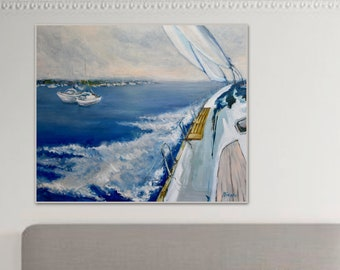 Original Painting on Canvas Seascape Oil painting Wall Art Wall Decor Home Boats