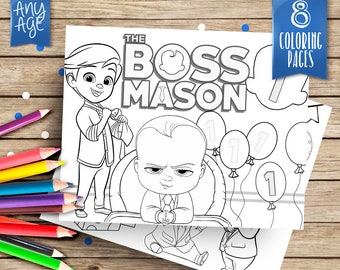 Boss Baby Personalized Coloring Pages 8 Printable Printables Party Games COP019 B1