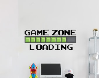 Children/'s Room Decor Game Zone Loading Gamer Computer Game Wall Stickers