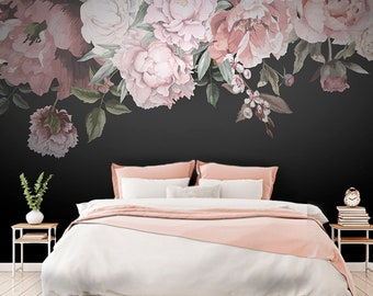 Floral wallpaper etsy dark floral watercolor print wallpaper self ahdesive wallpaper flowers floral wallpaper mural peel and stick peony for girls nursery mightylinksfo