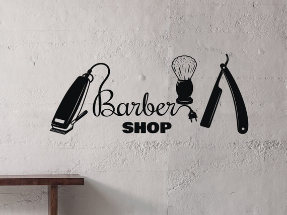 Barbershop Wall Decal Barber Shop Wall Sign Man Salon Etsy