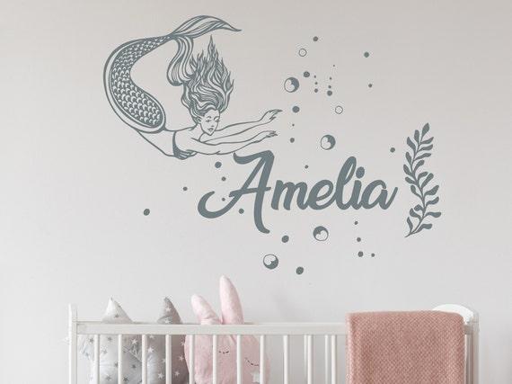 mermaid name wall decal mermaid decal nursery stickers | etsy
