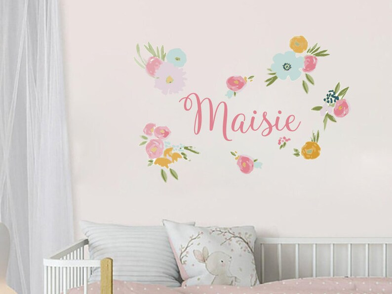 watercolor flowers wall decal custom girl name decal baby | etsy