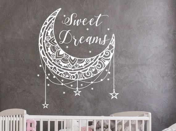 sweet dreams wall decal stars and moon wall nursery decor | etsy