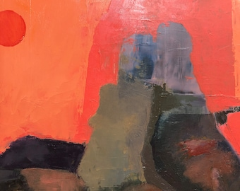Original Oil Painting Figurative Abstraction Erotic Couple