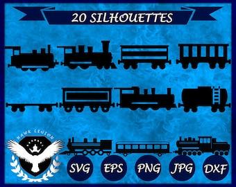 20 Train Silhouette | Train Svg | Train Clipart | Train Vector | Train Printable | Train Decoration | Train Decal | Wall Print | Circuit