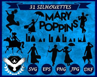 31 Mary Poppins Silhouette | Mary Poppins SVG | Mary Poppins Clipart | Mary Poppins Vector | Mary Poppins Printable | Circuit