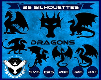25 Dragon Silhouette | Dragon SVG | Dragon Clipart | Chinese Dragon SVG | Dragon Printable | Dragon Decoration | SVG Files For Cut | Decal
