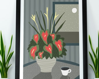 Anthurium By The Moon -  A3 Giclee Print