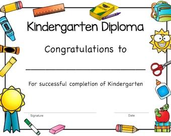 kindergarten diploma etsy