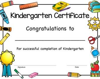 printable kindergarten diploma kindergarten graduation etsy