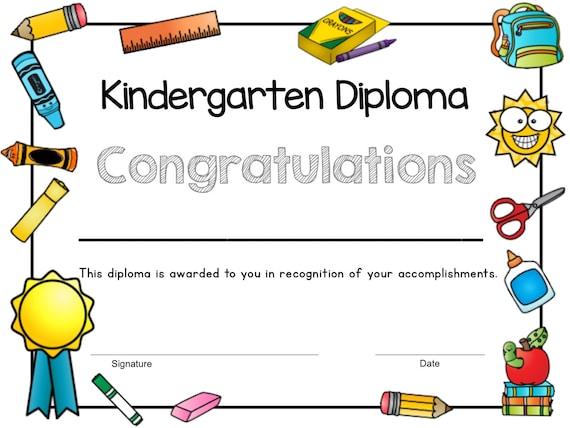 Printable Kindergarten Diploma, Kindergarten Graduation, Kindergarten  Class, End of Year Diploma, Digital Download, Instant Download