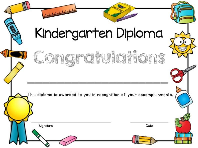 Printable Kindergarten Diploma Kindergarten Graduation | Etsy