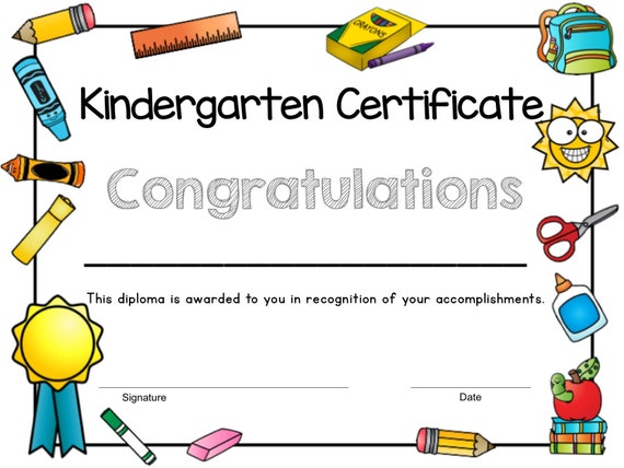 Printable Kindergarten Certificate End Of Year Certificate Kindergarten Graduation Certificate Instant Download
