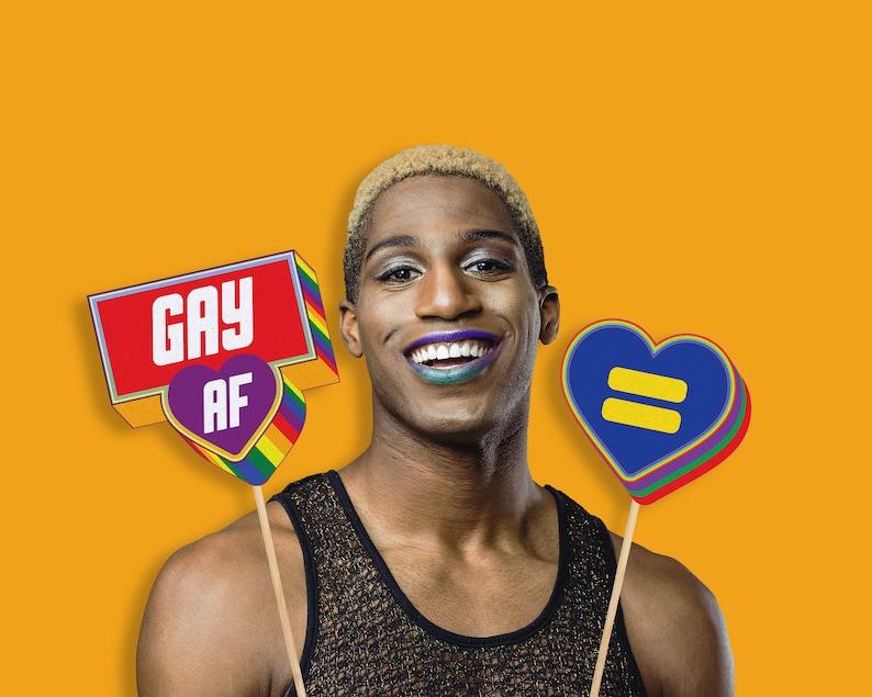 Printable Gay Digital Download LGBT Pride Photo Booth Prop Set