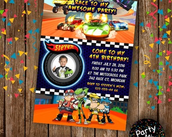 Hot Wheels invitation, birthday invitation, party invite, birthday party, PMS-053