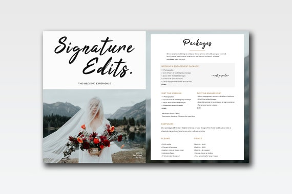 Price List Template V3 Wedding Photography Pricing Guide