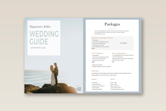 Videographer Price List Template Wedding Sheet Pricing
