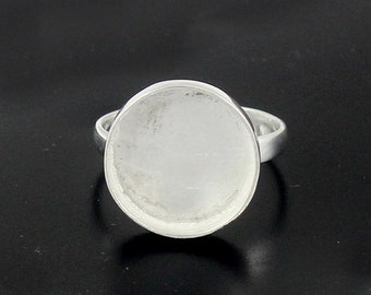 Solid Sterling silver Round stone setting Bazel Cup Ring