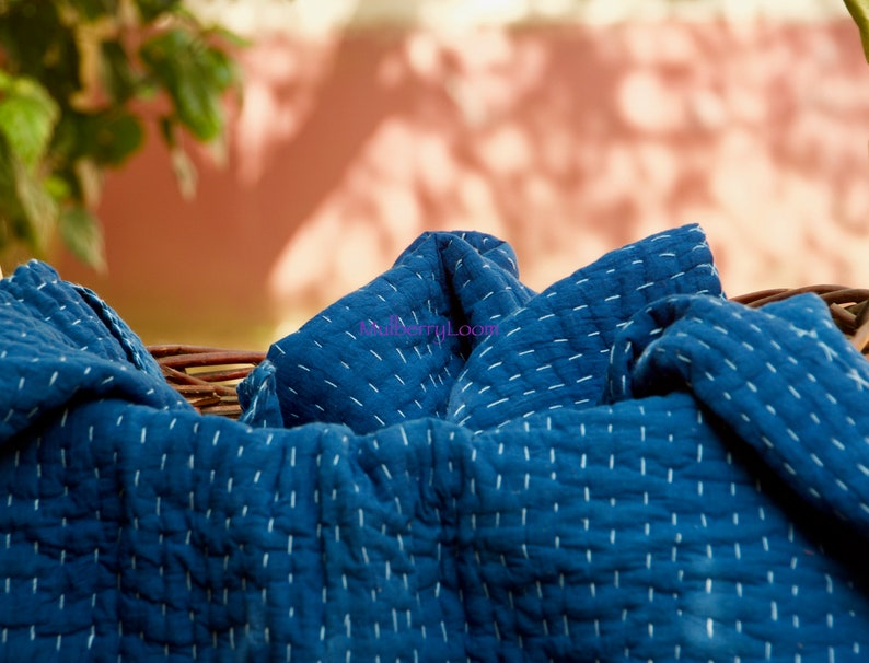 Indigo Kantha Quilt Handmade Crib Quilt  Indigo Baby Blanket image 0