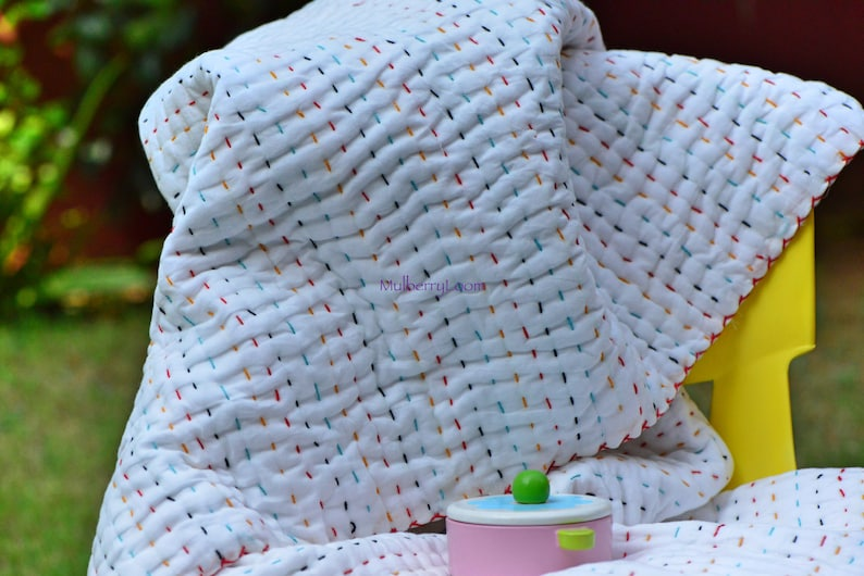 Rainbow Baby Quilt Kantha Modern Baby Quilts Handmade image 0
