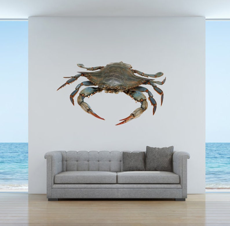 5.75 tall x 9.75 wide Wall Decal Blue Crab 2