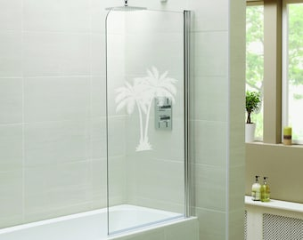 """Paired Palms - Beach Vibes Series - Etched Decal - For Shower Doors, Glass Doors and Windows - 19"""" tall x 14"""" wide"""