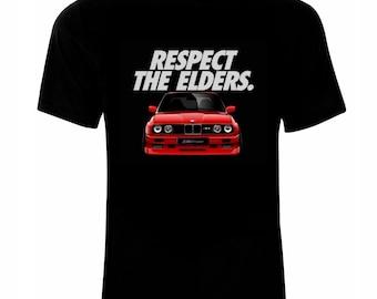 BMW E 30 Respect The Elders Logo T-Shirt