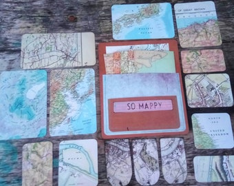 Map pieces pack/ Map ephemera/ Great for craft projects/ Junk journals/ Decoupage/ ScrapBooking/ Vintage Paper Ephemera/ Map ephemera/ Maps