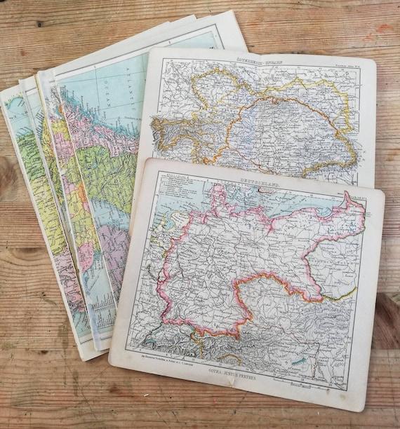 Vintage map book pages // Map ephemera // Junk Journal paper | Etsy