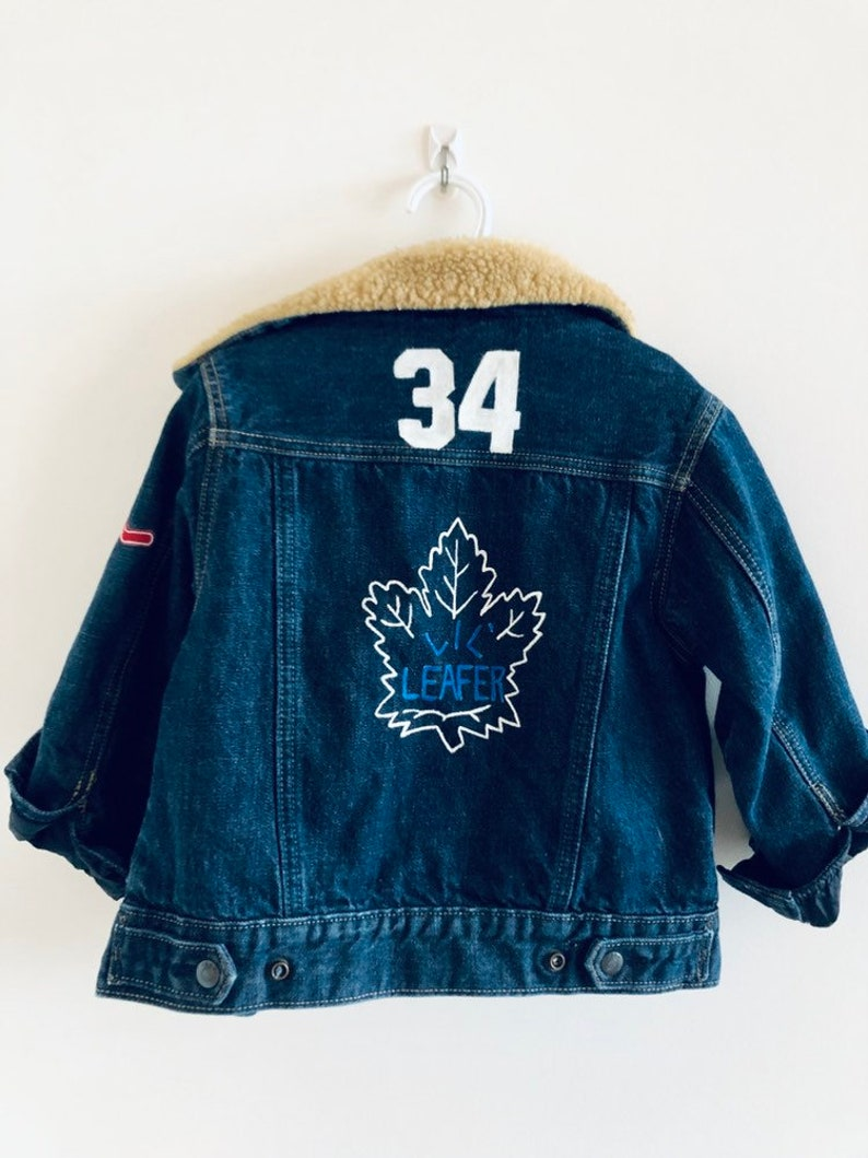 sneakers for cheap f13b8 097e6 Hand Painted Kids Denim Jacket Toronto Maple Leafs