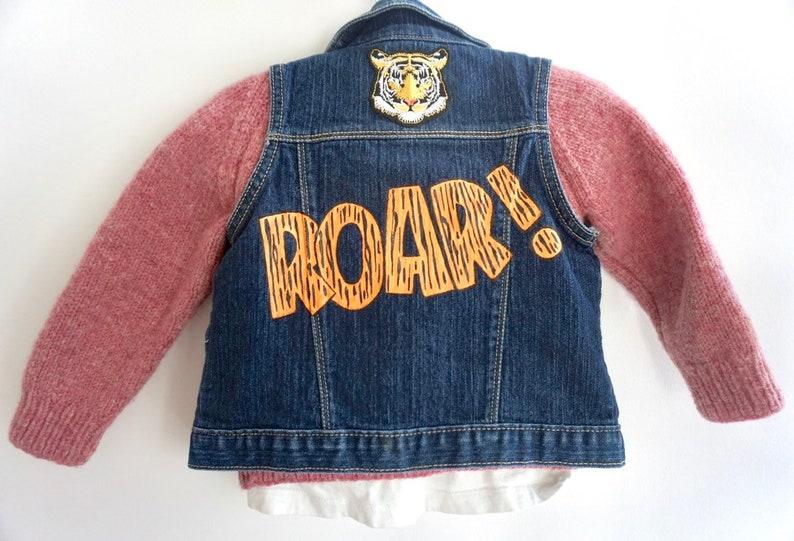 Tiger Customizable Hand Painted Kid/'s Denim Vest