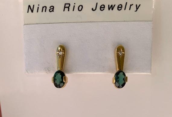 Vintage Emerald Gold Earrings