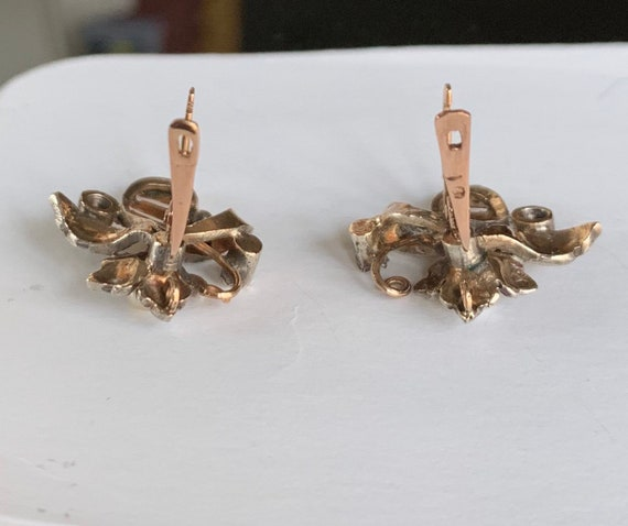 Vintage Diamond and Pearl Gold Earring - image 2