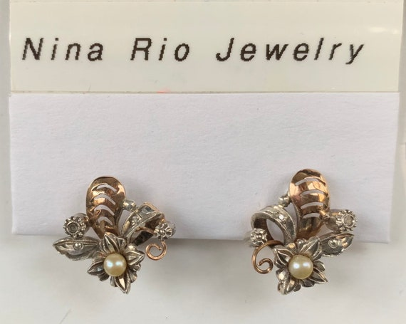 Vintage Diamond and Pearl Gold Earring - image 1